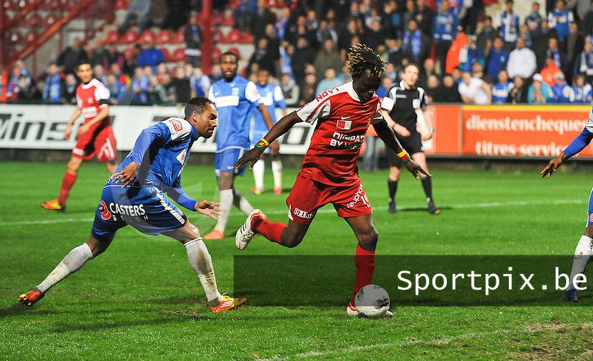 KV Kortrijk - Racing Genk : Ernest Nfor scoort de 2-2 gelijkmaker voor Kortrijk.foto VDB / BART VANDENBROUCKE