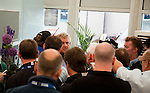Colin Montgomerie is cornered by the media during the weather delay ahead of the completion of his second round  of the Barclays Scottish Open, played over the links at Castle Stuart, Inverness, Scotland from 7th to 10th July 2011:  Picture Stuart Adams /www.golffile.ie 9th July 2011