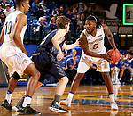 BROOKINGS, SD - NOVEMBER 1: David Jenkins #5 from South Dakota State University looks to make a move against Jake Heath #5 from South Dakota School of Mines during their exhibition game Thursday night at Frost Arena in Brookings. (Photo by Dave Eggen/Inertia)
