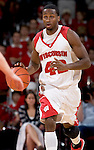 MADISON, WI - NOVEMBER 8: Forward Alando Tucker #42 of the Wisconsin Badgers handles the ball against the Carroll College Pioneers at the Kohl Center on November 8, 2006 in Madison, Wisconsin. The Badgers beat the Pioneers 81-61. (Photo by David Stluka)