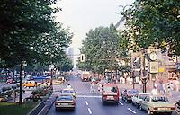 Berlin: Looking east on the Ku'Damm  (Kurfürstendamm)--famous street in Berlin. Photo '87.