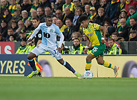 Norwich City's Onel Hernandez (right) under pressure from Blackburn Rovers' Amari'i Bell (left) <br /> <br /> Photographer David Horton/CameraSport<br /> <br /> The EFL Sky Bet Championship - Norwich City v Blackburn Rovers - Saturday 27th April 2019 - Carrow Road - Norwich<br /> <br /> World Copyright © 2019 CameraSport. All rights reserved. 43 Linden Ave. Countesthorpe. Leicester. England. LE8 5PG - Tel: +44 (0) 116 277 4147 - admin@camerasport.com - www.camerasport.com