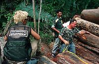 Fiscais medem várias toras de mogno encontradas escondidas no meio da floresta. A maior operação feita pelo Ibama até então na Amazônia resultou na apreenção de  9 mil m³de mogno, durou mais de uma semana e contou com o apoio do Greenpeace e 6 aeronaves.<br /> Uruará, Pará , Brasil.<br /> ©Foto: Paulo Santos/Interfoto<br /> 30/10/2001