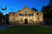 Alamo of Texas  - Texas Alamo right before sunrise as the sky started to lighten up at twilight.  Early morning is the best time to catch a sunrise before the crowds get here it can be very difficult to capture this without lot of people in front other than late at night or early morning.  It is one of the most popular spots for tourist to visit when they come to San Antonio.  The Alamo is one of the five missions in the city and is a landmark and favorite destination for tourist to travel to see.  The Alamo plus other missions in the city are part of the San Antonio Missions National Historical Park and a World heritage site. <br /> Note: To see more of our mission please go to our Texas Mission Gallery.