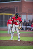 Billings Mustangs starting pitcher Luis Alecis (56) looks in for the sign during a Pioneer League game against the Idaho Falls Chukars at Melaleuca Field on August 22, 2018 in Idaho Falls, Idaho. The Idaho Falls Chukars defeated the Billings Mustangs by a score of 5-3. (Zachary Lucy/Four Seam Images)