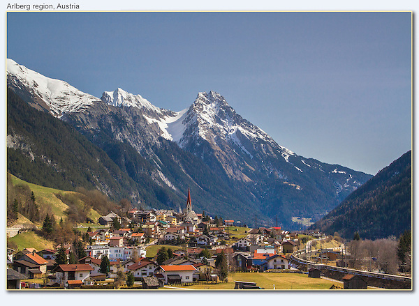 Austria, St Anton.  <br /> Springtime and the town of Pettneu am Arlberg, near St Anton, Austria. Personally, I couldn't decide exactly where to crop the right side of the image, still can't.
