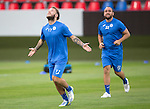 Spartak Trnava v St Johnstone...06.08.14  Europa League Qualifier 3rd Round<br /> Stevie May looks to the skies during training in the FC Vion Stadium with Lee Croft<br /> Picture by Graeme Hart.<br /> Copyright Perthshire Picture Agency<br /> Tel: 01738 623350  Mobile: 07990 594431