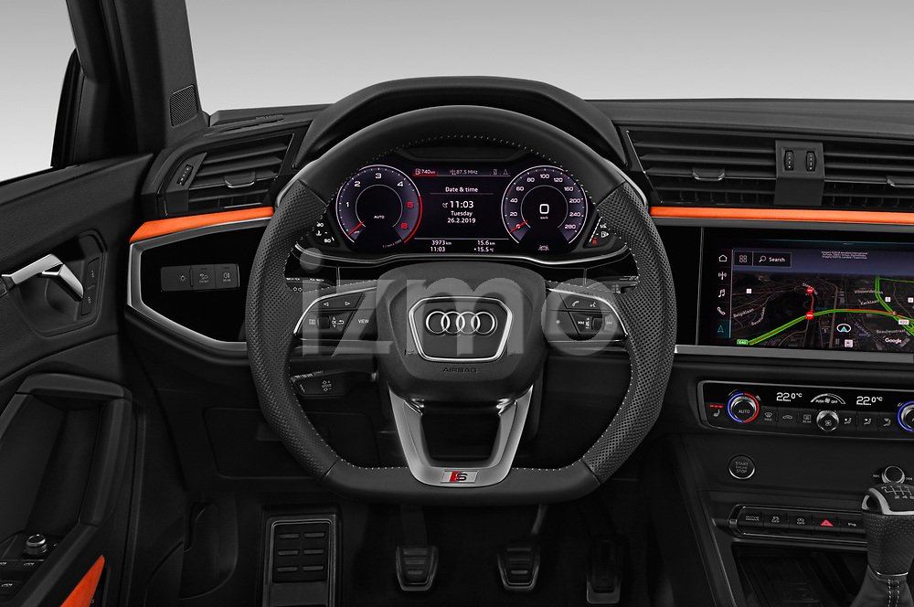 Car pictures of steering wheel view of a 2019 Audi Q3 S-line 5 Door SUV Steering Wheel