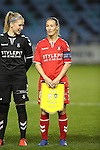 Katrine Abel and Theresa Nielsen of Brondby IF before the Champions League last 16 tie, first leg between Manchester City Women and Brondby IF at the Academy Stadium. <br /> <br /> Photo credit should read: Lynne Cameron/Sportimage