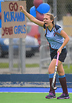 Action from the 2016 Rosemary O'Brien Cup girls hockey semifinal match between Kuranui College (blue) and St Oran's College at Hockey Manawatu Twin Turfs, Palmerston North, New Zealand on Thursday, 1 September 2016. Photo: Dave Lintott / lintottphoto.co.nz