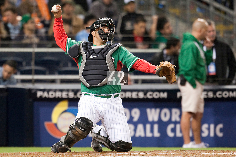 15 March 2009: #32 Rod Barajas of Mexico throws the ball to second base during the 2009 World Baseball Classic Pool 1 game 2 at Petco Park in San Diego, California, USA. Korea wins 8-2 over Mexico.