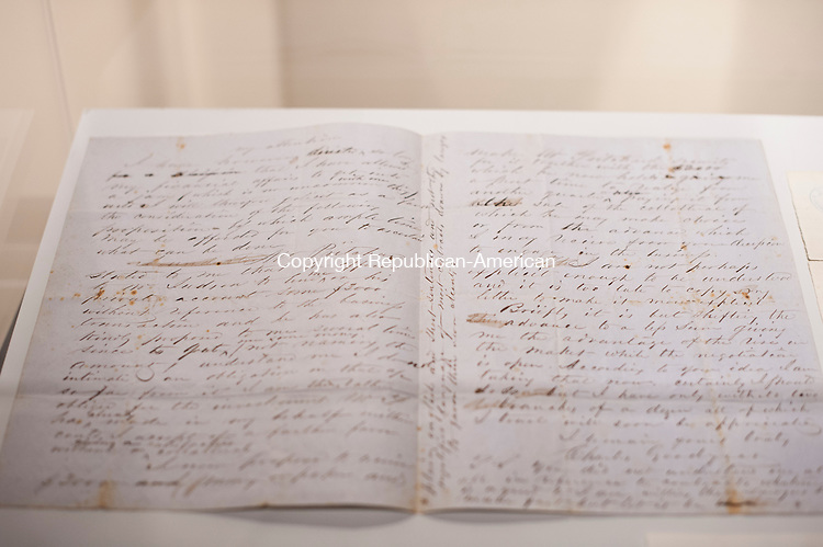 WATERBURY, CT-14 April 2015-041415EC04-  A letter from the Signature Moments: Historic Letters and Documents exhibit at the Mattatuck Museum. The collection of historic signatures includes letters from Benjamin Franklin, George Washington and P.T. Barnum. Erin Covey Republican-American