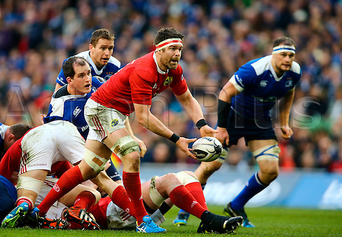 02.04.2016. Aviva Stadium, Dublin, Ireland. Guinness Pro12.  Leinster versus Munster. Billy Holland (Munster) acts as scrum-half.