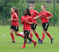 20200627 - TUBIZE , Belgium : Sien Vendersanden (left back) Welma Fon (left front(, Aster Janssens (right back) and Marith De Bondt (right front) pictured during a training session of the Belgian Red Flames U19, on the 27 th of June 2020 in Tubize.  PHOTO SEVIL OKTEM| SPORTPIX.BE