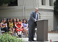 Faculty speaker Richard Mora, Associate Professor, Sociology. Graduating seniors, faculty and staff gather for the First Generation Graduation Celebration, on the steps between Johnson and Fowler Halls and the Academic Quad on Saturday, May 18, 2019.<br />