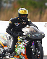 Mar 13, 2015; Gainesville, FL, USA; NHRA pro stock motorcycle rider Eddie Reed during qualifying for the Gatornationals at Auto Plus Raceway at Gainesville. Mandatory Credit: Mark J. Rebilas-