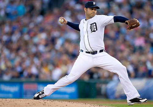August 22, 2012:  Detroit Tigers pitcher Anibal Sanchez (19) delivers pitch during MLB game action between the Toronto Blue Jays and the Detroit Tigers at Comerica Park in Detroit, Michigan.  The Tigers defeated the Blue Jays 3-2.