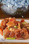 Japanese Tekka Maki Tuna Poke with Ginger, Soy Sause, Onions and peas. ©2016.  Jim Bryant Photo. All Rights Reserved.