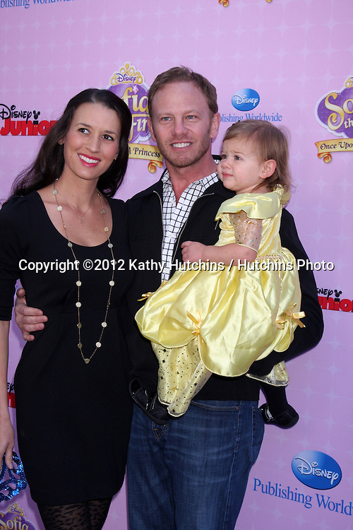 """LOS ANGELES - NOV 10:  Erin Ludwig, Mia Loren Ziering, Ian Ziering arrives at the """"Sofia The First: Once Upon a Princess"""" Premiere And Story Book Launch at Walt Disney Studios on November 10, 2012 in Burbank, CA"""