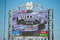 Super Bulldog Weekend: Baseball vs Arkansas at Dudy Noble Field. Supper Bulldog scoreboard.<br />  (photo by Megan Bean / &copy; Mississippi State University)