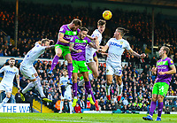 Leeds United's Aapo Halme and Kalvin Phillips battle in the air with Bristol City's Josh Brownhill and Tomas Kalas<br /> <br /> Photographer Alex Dodd/CameraSport<br /> <br /> The EFL Sky Bet Championship - Leeds United v Bristol City - Saturday 24th November 2018 - Elland Road - Leeds<br /> <br /> World Copyright &copy; 2018 CameraSport. All rights reserved. 43 Linden Ave. Countesthorpe. Leicester. England. LE8 5PG - Tel: +44 (0) 116 277 4147 - admin@camerasport.com - www.camerasport.com