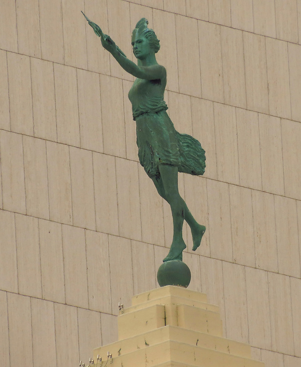 The Spirit of Progress statue on the old Montgomery Ward Building as seen on the Chicago Architecture Foundation's river cruise. (DePaul University/Jamie Moncrief)