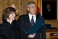 AJ Alexander - Jerry Lewis was sworn in as newest Arizona state senator, he is replacing Russell Pearce the first legislator to be recalled, by Arizona Supreme Court Chief Justice Rebecca White Berch on Tuesday November 22, 2011..Photo by AJ Alexander.