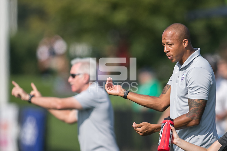 Allston, MA - Saturday August 19, 2017: Orlando Pride coach Khano Smith during a regular season National Women's Soccer League (NWSL) match between the Boston Breakers and the Orlando Pride at Jordan Field.