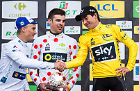 Picture by Alex Broadway/SWpix.com - 12/03/17 - Cycling - 2017 Paris Nice - Stage Eight - Nice to Nice - Julian Alaphilippe of Quick-Step Floors shakes hands with overall GC winner Sergio Henao of Team Sky.