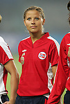 06 August 2008: Marie Knutsen (NOR).  The women's Olympic team of Norway defeated the United States women's Olympic soccer team 2-0 at Qinhuangdao Olympic Center Stadium in Qinhuangdao, China in a Group G round-robin match in the Women's Olympic Football competition.