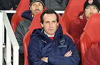 Arsenal Manager Unai Emery during the UEFA Europa League match between Arsenal and Sporting Clube de Portugal at the Emirates Stadium, London, England on 8 November 2018. Photo by Andrew Aleksiejczuk / PRiME Media Images.<br /> .<br /> (Photograph May Only Be Used For Newspaper And/Or Magazine Editorial Purposes. www.football-dataco.com)