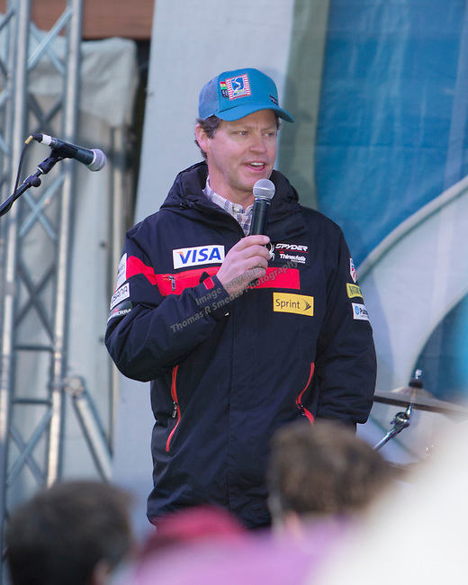 Tiger Shaw, new CEO of the US Ski Team speaks during the Olympic Homecoming  Celebration at Squaw Valley on Friday night, March 21, 2014.