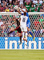 PASADENA, CA – June 25, 2011: Mexico goalie Alfredo Talavera (12)  during the Gold Cup Final match between USA and Mexico at the Rose Bowl in Pasadena, California. Final score USA 2 and Mexico 4.