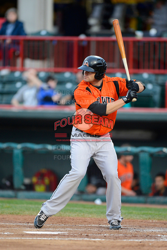 Bowie Baysox first baseman Aaron Baker #30 during a game against the Erie Seawolves on April 23, 2013 at Jerry Uht Park in Erie, Pennsylvania.  Erie defeated Bowie 4-1.  (Mike Janes/Four Seam Images)