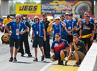Sep 2, 2018; Clermont, IN, USA; Crew members for NHRA pro stock driver Shane Tucker during qualifying for the US Nationals at Lucas Oil Raceway. Mandatory Credit: Mark J. Rebilas-USA TODAY Sports