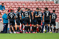 27th June 2020; Bet365 Stadium, Stoke, Staffordshire, England; English Championship Football, Stoke City versus Middlesbrough; Newly appointed Middlesborough Manager Neil Warnock gives his players instructions during the water break