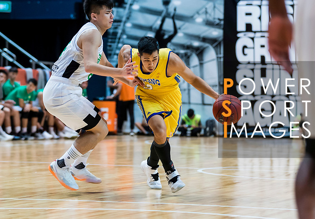 Joe Glen Matthew #13 of Winling Basketball Club dribbles the ball up court against the Tycoon during the Hong Kong Basketball League playoff game between Tycoon and Winling at Queen Elizabeth Stadium on July 27, 2018 in Hong Kong. Photo by Yu Chun Christopher Wong / Power Sport Images