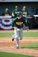 Siena Saints pinch hitter Zach Durfee (2) runs to first base during a game against the UCF Knights on February 17, 2019 at John Euliano Park in Orlando, Florida.  UCF defeated Siena 7-1.  (Mike Janes/Four Seam Images)
