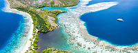 aerial view of limestone islands, surrounded by coral reefs, Raja Ampat Islands, West Papua, Indonesia, Pacific Ocean