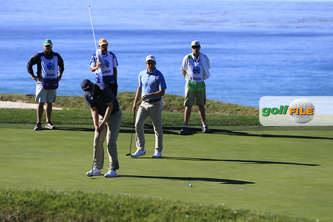 Seamus Power (IRL) putts on the 10th green at Pebble Beach course during Friday's Round 2 of the 2018 AT&amp;T Pebble Beach Pro-Am, held over 3 courses Pebble Beach, Spyglass Hill and Monterey, California, USA. 9th February 2018.<br /> Picture: Eoin Clarke | Golffile<br /> <br /> <br /> All photos usage must carry mandatory copyright credit (&copy; Golffile | Eoin Clarke)