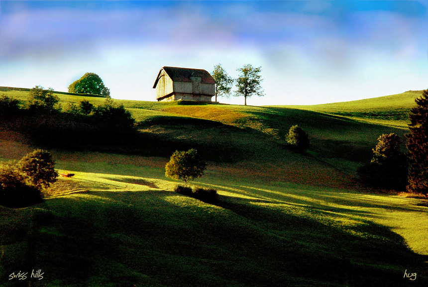 a hilly farm in switzerland