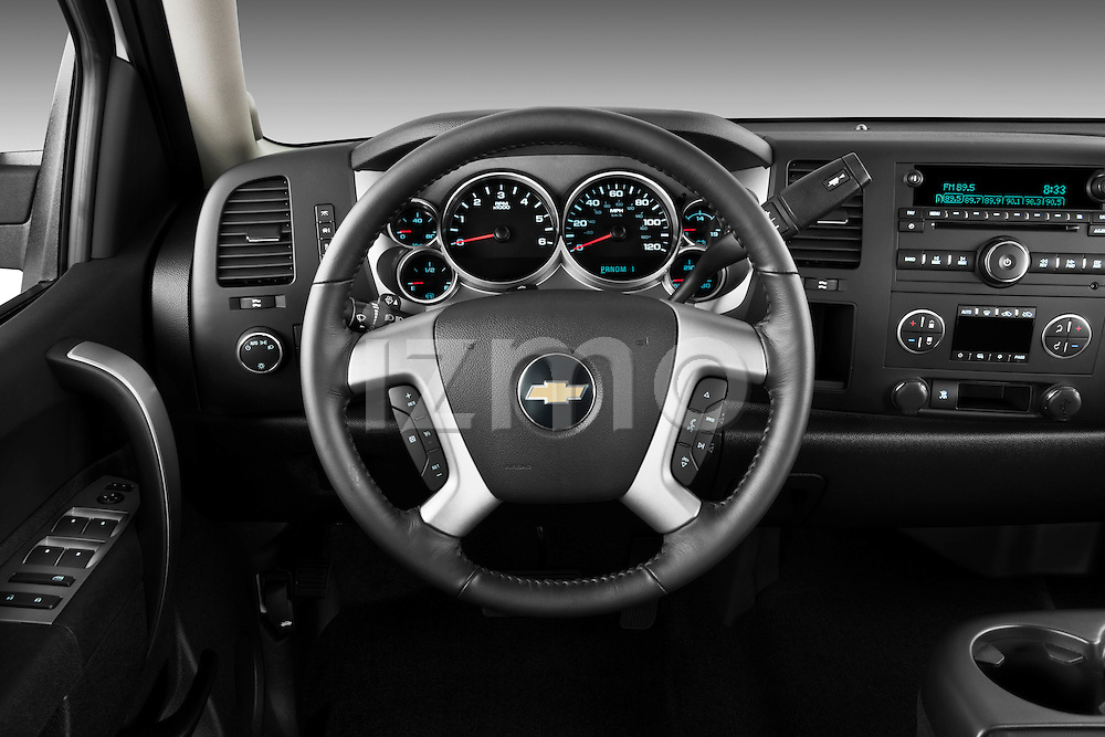 Steering wheel view of a 2011 Chevrolet Silverado 2500LT Crew Cab