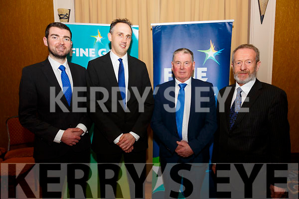 Fine Gael ratify two candidates to run in the County Council Elections from the Kenmare Electoral area at the Ring of Kerry Hotel on Sunday, Patrick O'Connor Scarteen Kenmare & Patrick Lyne from Valentia are the nominees, pictured here l-r; Minister Brendan Griffin, Patrick O'Connor-Scarteen, Patrick Lyne & MEP Sean Kelly.