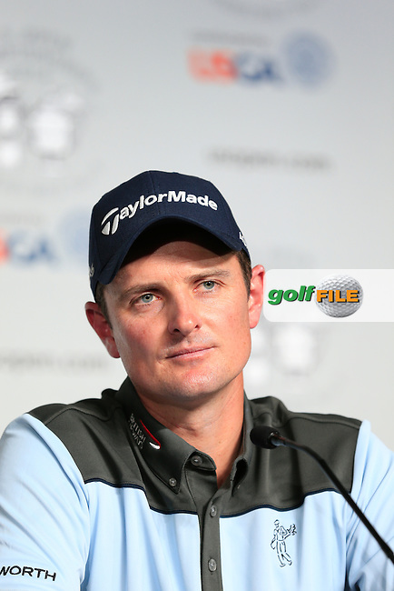 Defending Champion Justin Rose (ENG) press conference during Tuesday's Practice Day of the 2014 US Open Championship held at Pinehurst No.2 Course, Pinehurst, North Carolina, USA. 10th June 2014.<br /> Picture: Eoin Clarke www.golffile.ie