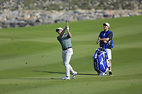 James Heath (ENG) during the first round of the NBO Open played at Al Mouj Golf, Muscat, Sultanate of Oman. <br /> 15/02/2018.<br /> Picture: Golffile   Phil Inglis<br /> <br /> <br /> All photo usage must carry mandatory copyright credit (&copy; Golffile   Phil Inglis)