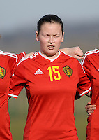 20150307 - TUBIZE , BELGIUM : Belgian Valentine Hannecart pictured during the friendly female soccer match between Women under 19 teams of  Belgium and Czech Republic . Saturday 7th March 2015 . PHOTO DAVID CATRY
