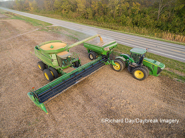 63801-08707 Soybean Harvest, unloading soybeans into grain cart John Deere- aerial - Marion Co. IL