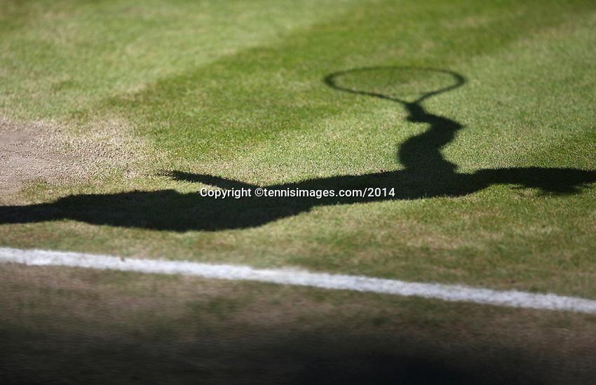 England, London, 28.06.2014. Tennis, Wimbledon, AELTC, Shadow on grass<br /> Photo: Tennisimages/Henk Koster