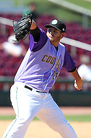 Kane County Cougars pitcher Max Peterson during a game vs. the Peoria Chiefs at Elfstrom Stadium in Geneva, Illinois August 15, 2010.   Peoria defeated Kane County 8-4.  Photo By Mike Janes/Four Seam Images