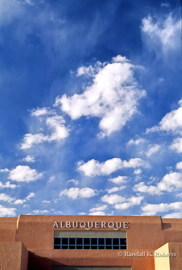 Blue skys and clouds over Albuquerque International Sunport, New Mexico